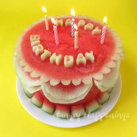 Fantastic Carved Watermelon Birthday Cake Edible Crafts Funny Birthday Cards Online Inifofree Goldxyz