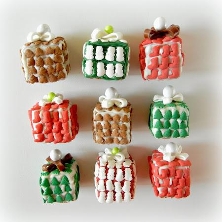wrapped present krispie treats
