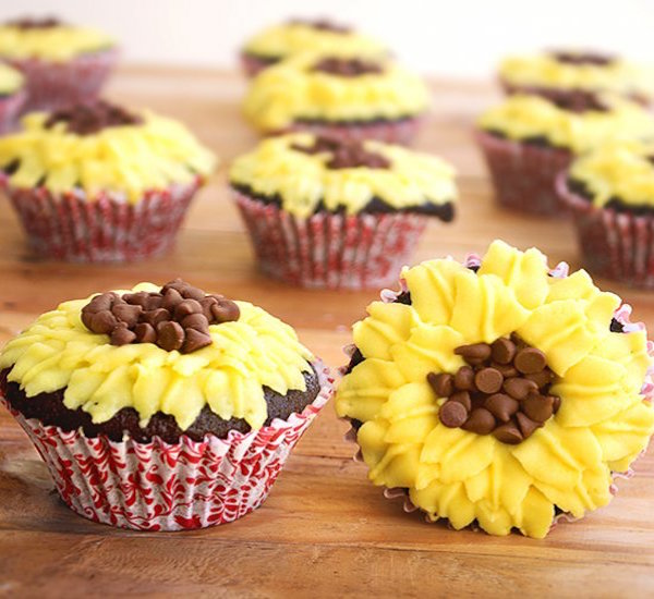 sunflower decorated chocolate cupcake