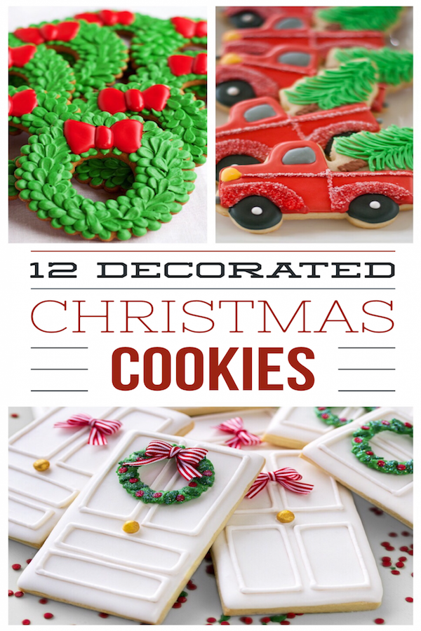12 decorated christmas cookies