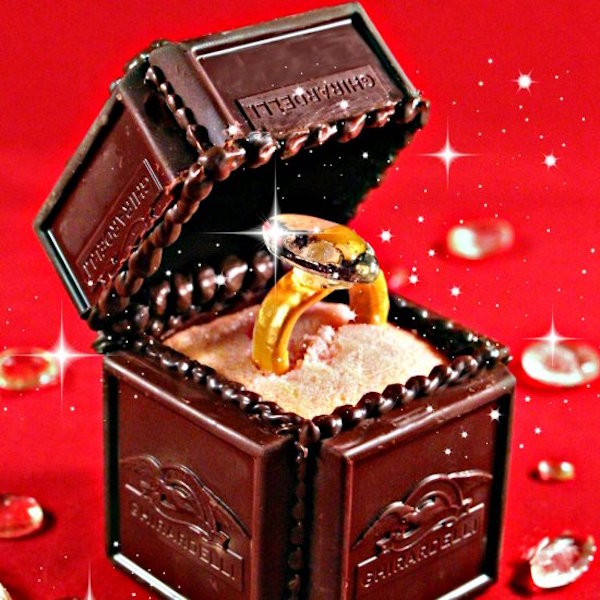 engagement ring chocolate box cake topper