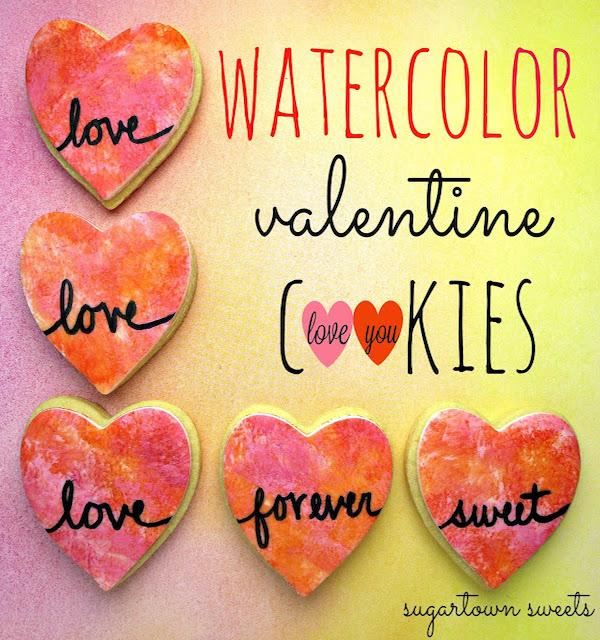 watercolor valentine cookies heart cookies