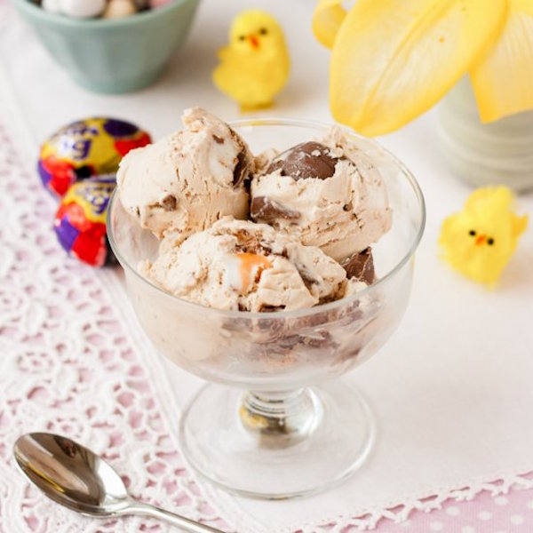easy no churn cadbury creme egg ice cream
