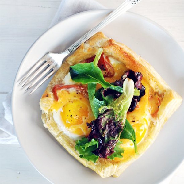 baked egg breakfast tarts with proscuitto