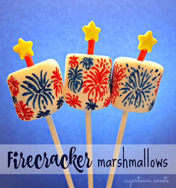 Firecracker marshmallows fourth of july crafts