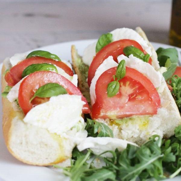mozzarella and beef tomato baguette