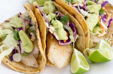 Mid Week Dinner  – Fish Tacos with coconut mayo