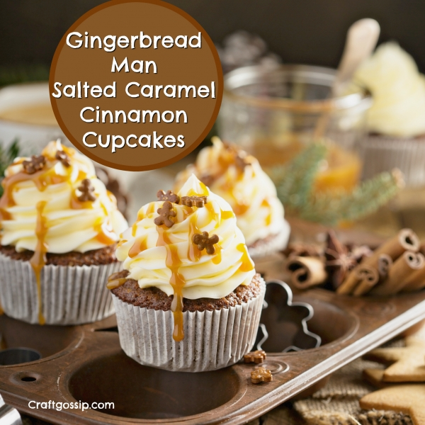Gingerbread Man Salted Caramel Cupcakes