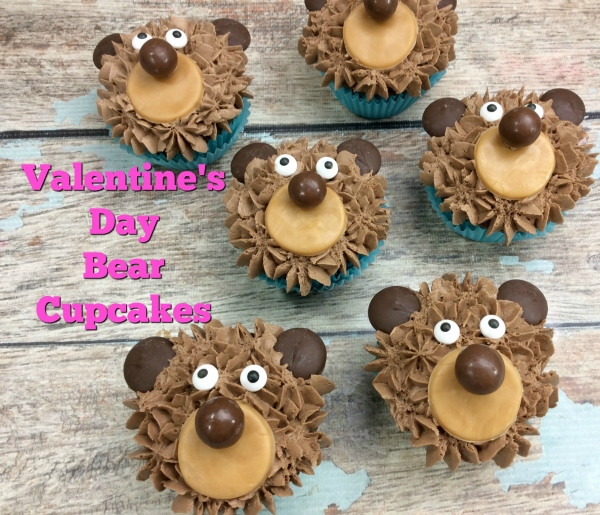 Easy Valentine's Day Bear Cupcakes