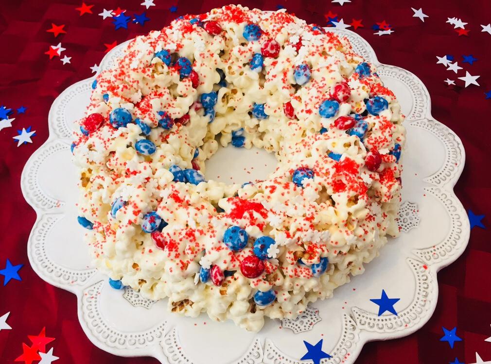DIY Patriotic Popcorn Cake