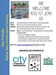 Reminder Poster for May 30 2015 BeeFriendly Garden Blitz