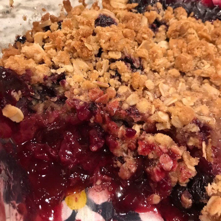 close-up of a berry crisp