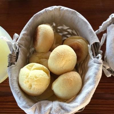 A basket of pao de queijo