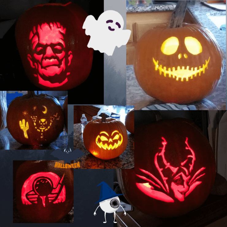 A collection of carved pumpkins