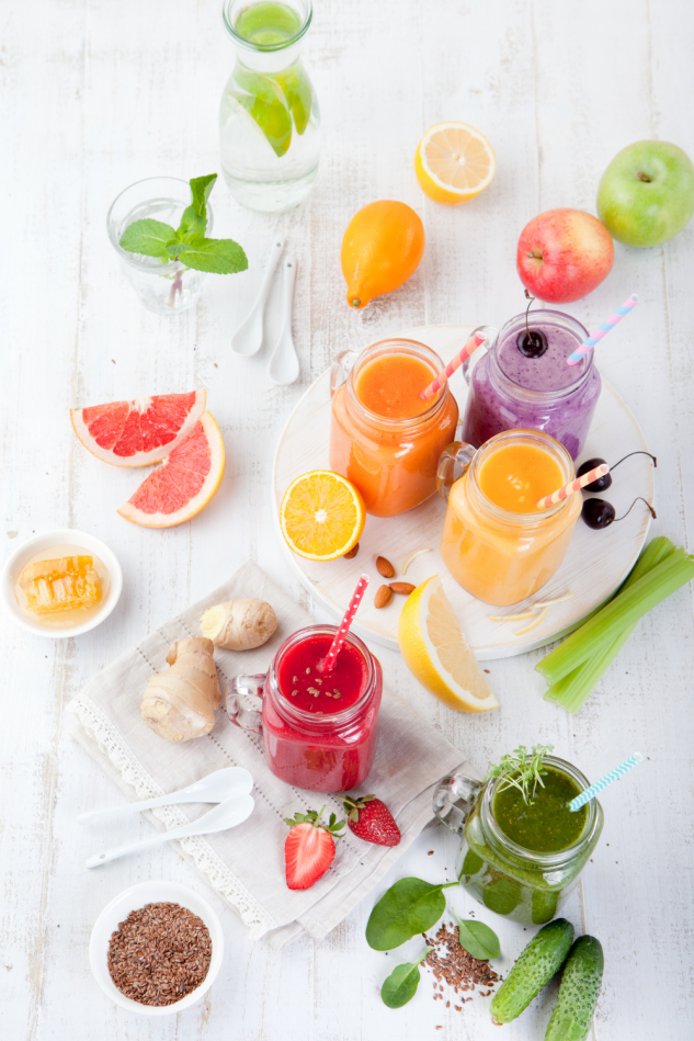 An array of fresh juice