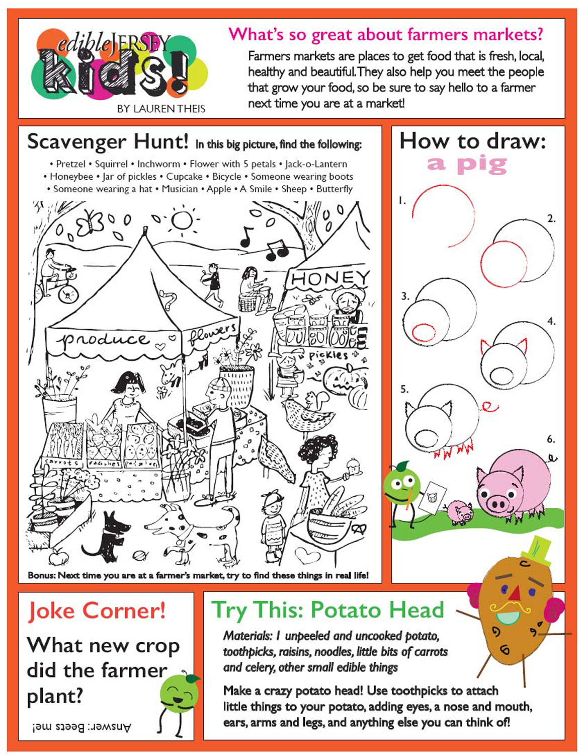 Summer Farmers Market Worksheet For Kids