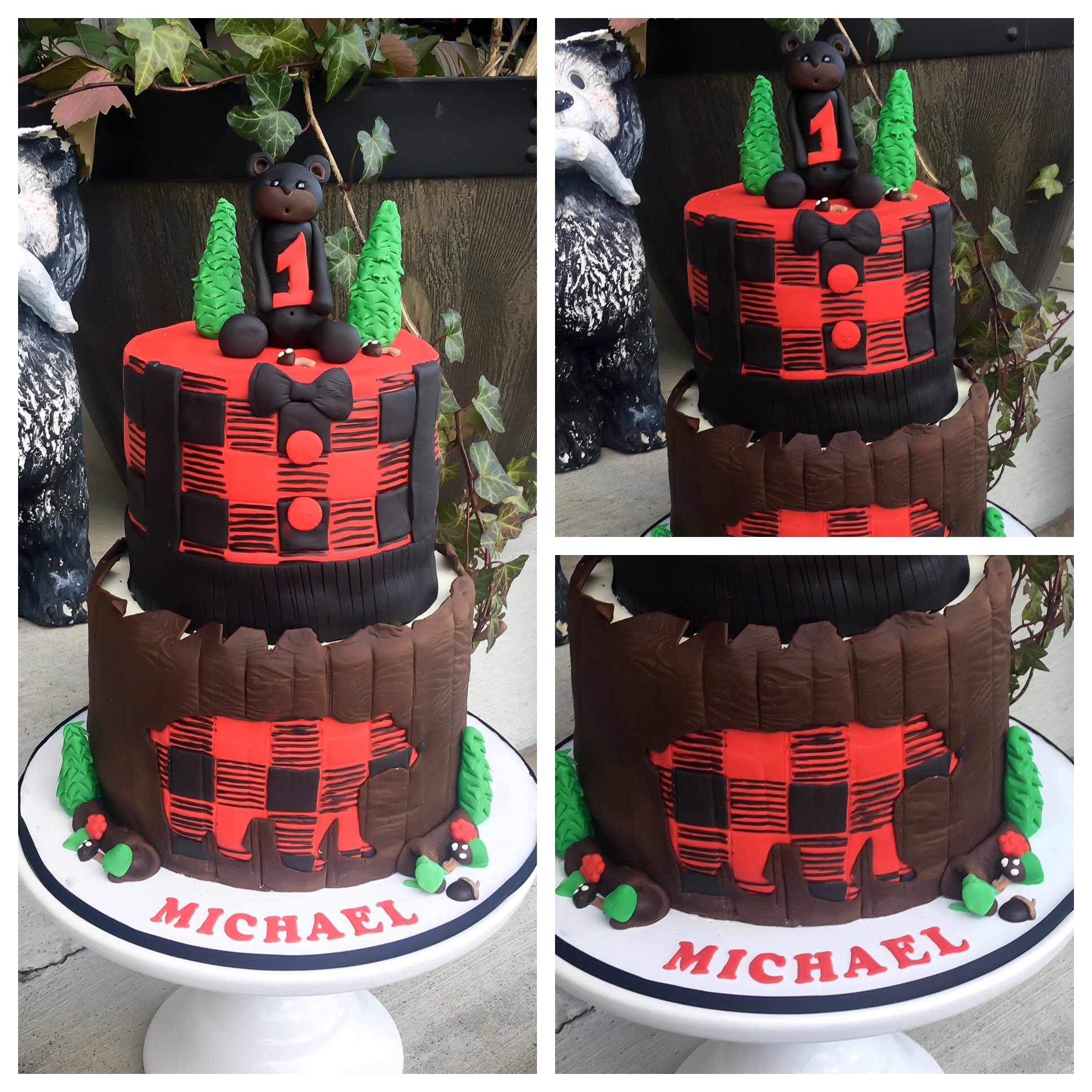 Buffalo plaid bear Cake how to