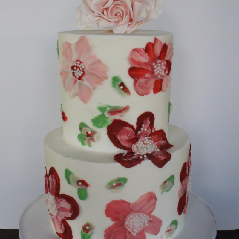Painted Flower Buttercream Cake Tutorial