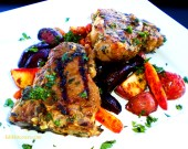Minted Lamb with Roasted Baby Vegetables