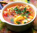 Smoked Fish Chowder with Leeks, Corn, Tomatoes & Potatoes.