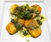 Grilled Halloumi with a Caper-Lime & Cilantro Dressing.
