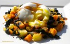 Kale & Root Vegetable Hash with Poached Egg.
