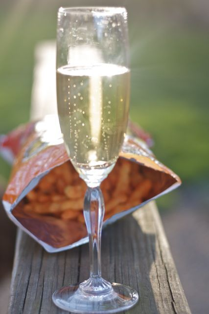 Champagne and cheetos recommendation from Edible Times