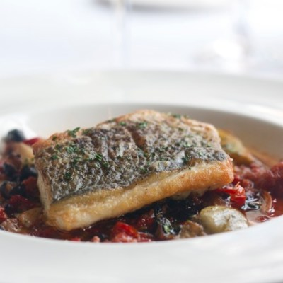 Sustainable Seafood Fridays:  Striped bass with chorizo, black beans & tomato broth
