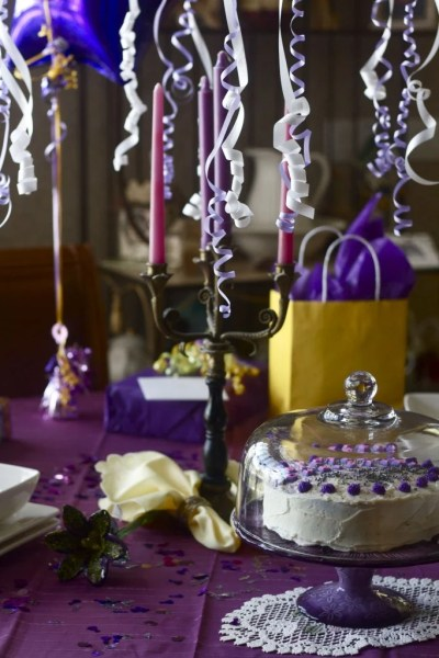 Decorated birthday table.