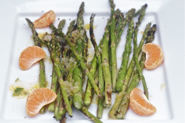 Grilled asparagus with orange vinaigrette.