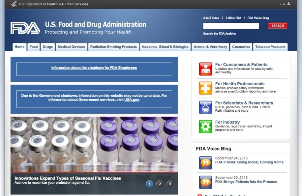 FDA shutdown October 2013 screenshot.