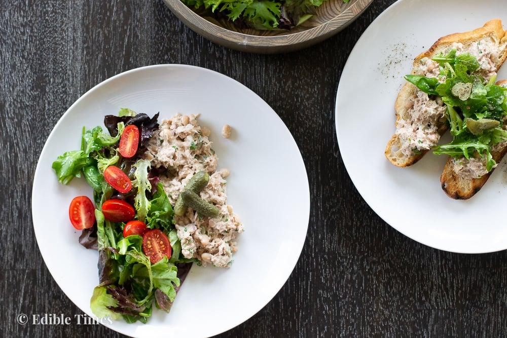 Tuna salad on plate.