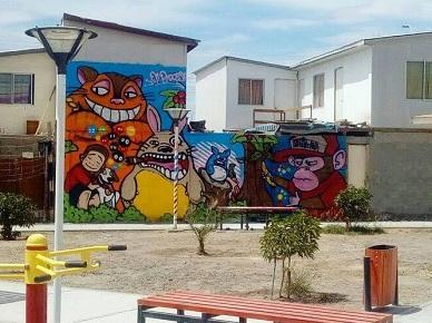 """Niños y jóvenes de Pozo Almonte pintan su comuna en el marco del programa """"Graff Educa"""""""