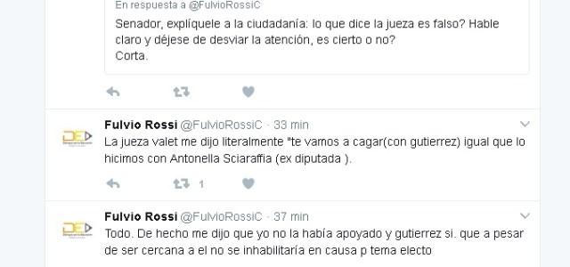 A través de twitter, senador Rossi responde acusaciones de jueza Ana Paola Vallete
