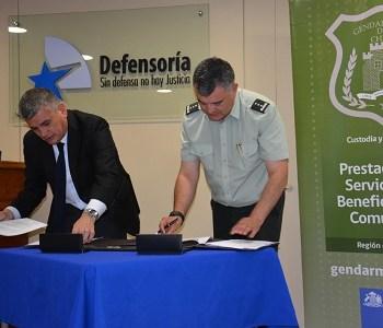 Defensoría y Gendarmería firmaron convenio que otorga  cupos de trabajo a personas con penas sustitutivas