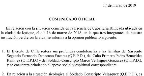 Que el mismo soldado Velásquez se ofreció para reemplazar a un compañero, consigna el Ejército en comunicado oficial