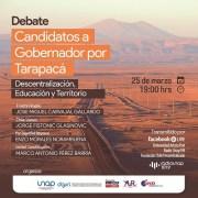 Sobre descentralización, educación y territorio, debatirán candidatos a gobernador regional por Tarapacá