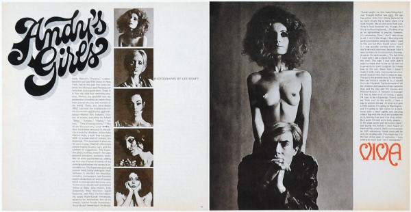 "Teatime on Mars: magazine spread: Left page: headline ""Andy's Girls"" and thumbnails of different Factory denizens. Right page: large image of Viva and Andy: Viva stands naked behind Andy in a leather jacket"