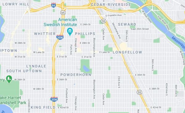 map showing detail of south Minneapolis neighborhoods: flower delivery for holidays