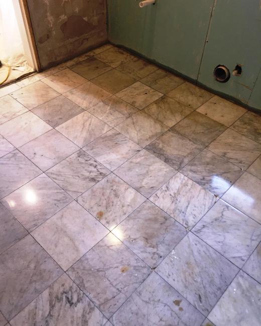 Marble Tiled Bathroom Floor After Restoration Walkerburn