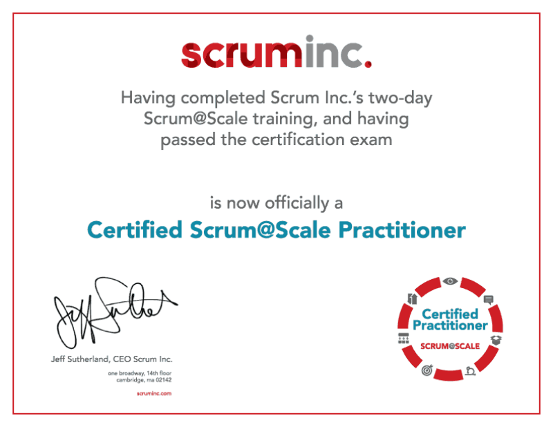 Scrum@Scale Practitioner Certificate