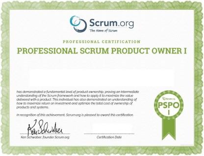 PSPO 1 Certificate