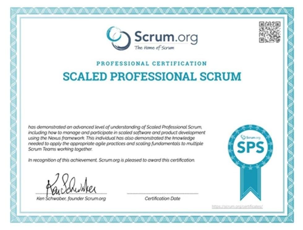 Scaled Professional Scrum (SPS) Certificate