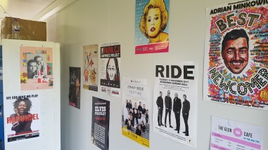 Posters inside the Meadow Check In Office