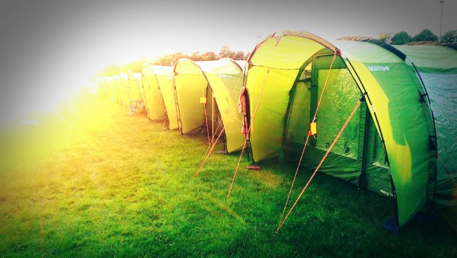 4 Person Pre-pitched tents in the sun
