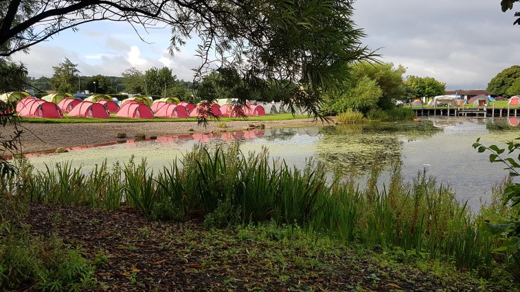 Pre-Pitched Tents in front of the lake