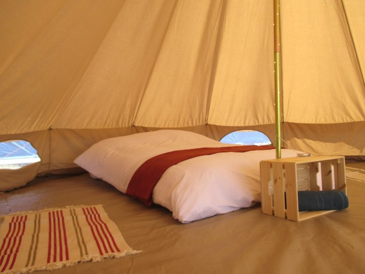 Inside our Bell Tents