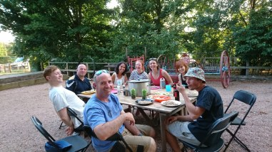 Our 2018 management team having dinner together before the campsite opens