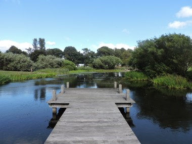 The jetty over the artificial lake at Edinburgh Festival Camping