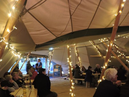 Inside the Giant Tipis at Edinburgh Festival Camping